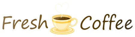 sides: Illustration of a fresh coffee label with a cup of hot coffee on a white background