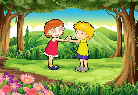 playmates: Ilustración de los niños jugando en la selva Vectores