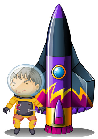 computerized: Illustration of a young astronaut beside the rocket on a white background Illustration