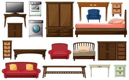 Illustration of the house furnitures and appliances on a white background Ilustracja
