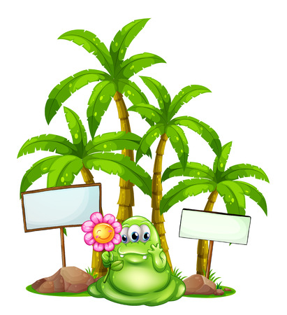 cartoon palm tree: Illustration of a monster with a flower standing in the middle of the empty signboards on a white background