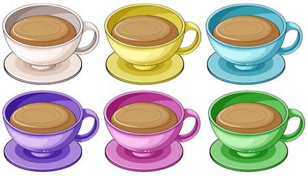 melaware: Illustration of the coffee in colorful cups on a white background