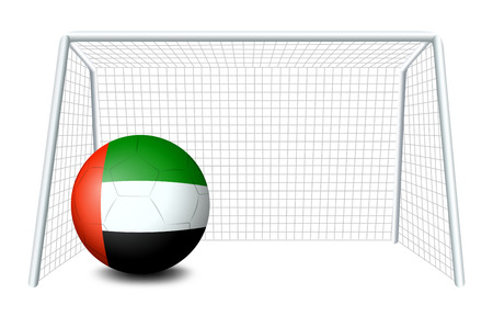 emirates: Illustration of a soccer ball with the United Arab Emirates flag on a white background Illustration