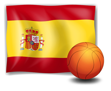 spaniards: Illustration of the flag of Spain and an orange ball on a white background