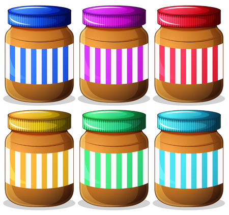 Illustration of the six jars of peanut butters on a white background