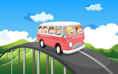 roadtrip: Illustration of a school bus with kids travelling
