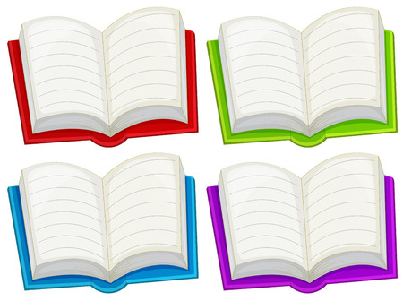 sides: Illustration of the colorful empty books on a white background
