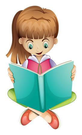 白い背景の上に真剣に本を読んで若い女の子のイラスト