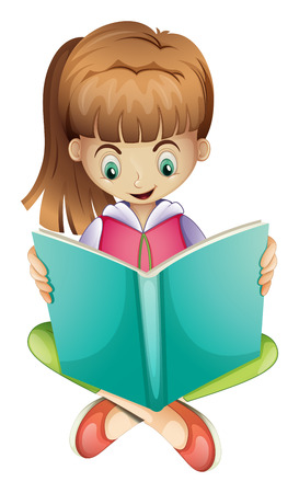 Illustration of a young girl reading a book seriously on a white background Ilustrace