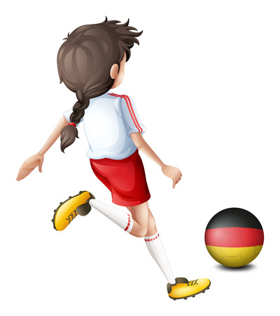 footwork: Illustration of a young football player using the ball from Germany on a white background
