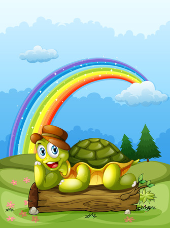 land turtle: Illustration of a happy turtle above the log and the rainbow in the sky