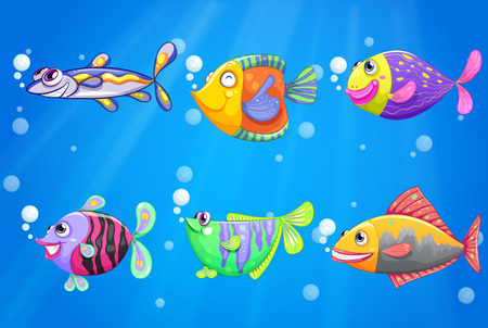 Illustration of an ocean with six colorful fishes