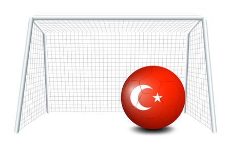 footwork: Illustration of a ball with the Turkey flag on a white background Illustration