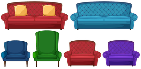 Illustration of a collection of different chairs on a white background Vector
