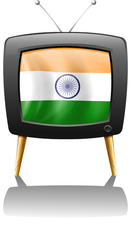 Illustration of a television with the flag of India on a white background Vector