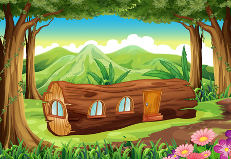 tree log: Illustration of a forest with a log house Illustration