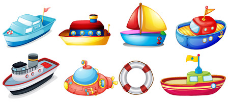 Illustration of the collection of toy boats on a white background Vector