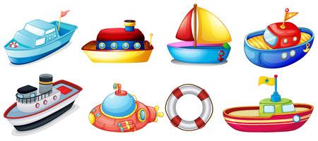 barco caricatura: Ilustración de la colección de barcos de juguete sobre un fondo blanco