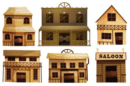Ilustración de las barras del salón en el oeste sobre un fondo blanco Vectores
