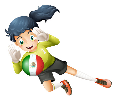 Illustration of a female football player from Mexico on a white background Vector