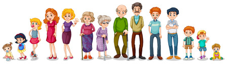 male parent: Illustration of a big extended family on a white background