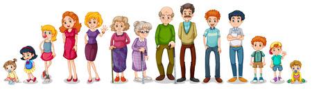 Ilustración de una familia grande en un fondo blanco