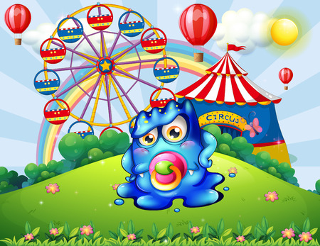 hilltop: Illustration of a baby monster at the hilltop with a carnival Illustration
