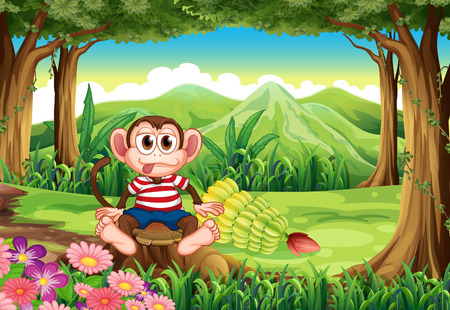 sitting on the ground: Illustration of a forest with a monkey above the stump