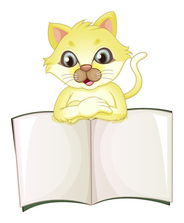 sheet menu: Illustration of a cute yellow cat opening an empty book on a white background