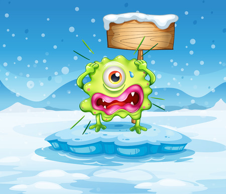 Illustration of an iceberg with a scared monster near the empty signboard Vector