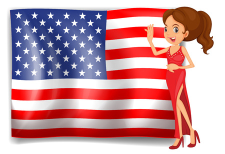 beauty queen: Illustration of a beauty queen and the flag of the USA on a white background