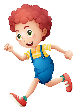 Illustration of a curly young boy running on a white background Vector