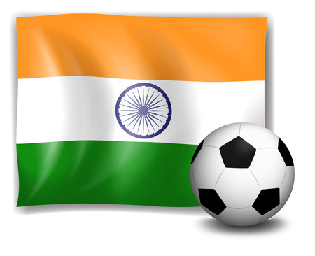 sides: Illustration of the flag of India at the back of the soccer ball on a white background Illustration
