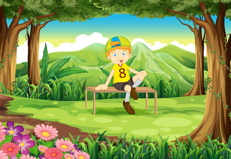 forest background: Illustration of a forest with a boy sitting above the table