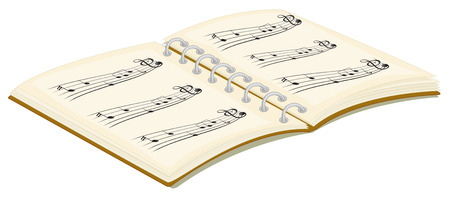 music book: Illustration of a music book on a white background