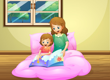 Illustration of a mother reading with her daughter Vector