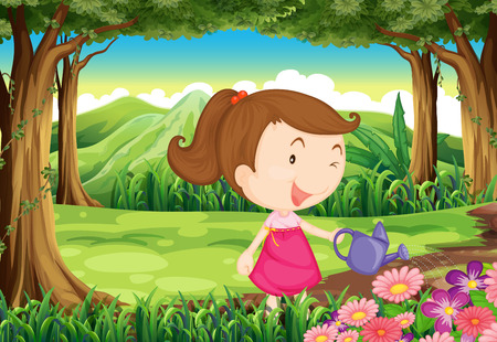 Illustration of a young lady watering the plants in the forest Vector
