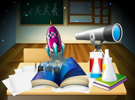 Illustration of a science laboratory room Vector
