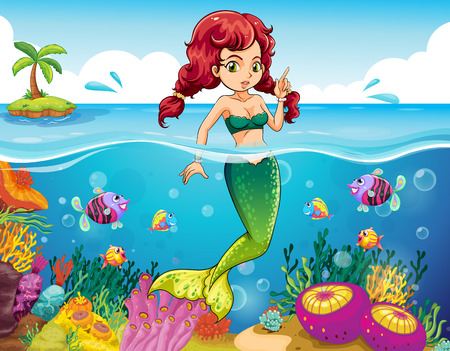 Illustration of a sea with a mermaid Vector