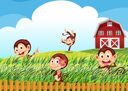 Illustration of a farm with monkeys Vector