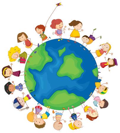 白の背景に世界中の子供たちのイラスト  イラスト・ベクター素材