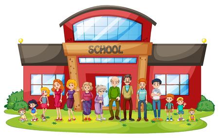eltern und kind: Illustration einer gro�en Familie vor dem Schulgeb�ude auf einem wei�en Hintergrund