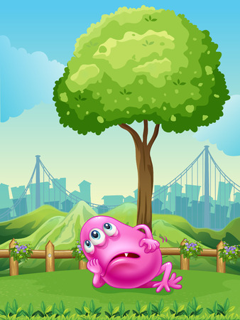Illustration of a tired pink monster under the tree