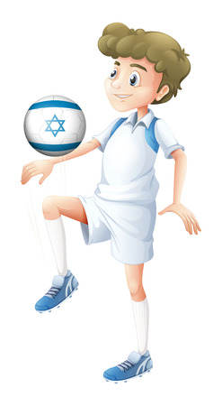 footwork: Illustration of a boy using the ball with the flag of Israel on a white background