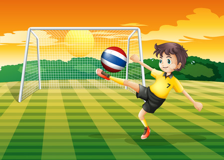 Illustration of a female player kicking the ball from Thailand Vector