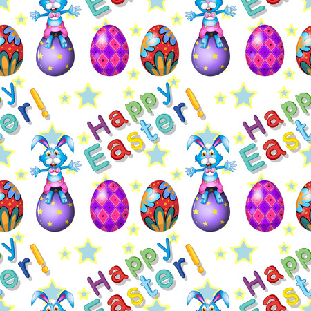 Illustration of the seamless design for Easter Sunday on a white background Vector