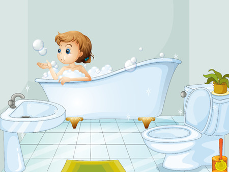 Illustration of a young woman taking a bath in the bathtub
