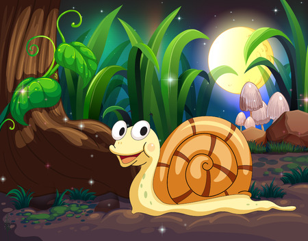 Illustration of a snail in the forest Vector