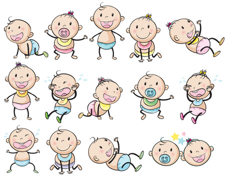 Illustration of the playful babies on a white background Vector