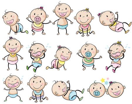 crying boy: Ilustración de los niños juguetones sobre un fondo blanco
